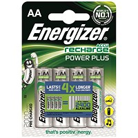 Energizer Rechargeable Battery, NiMH Capacity 2000mAh HR6, 1.2V, AA - Pack of 4