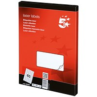 5 Star Multipurpose Laser Labels, 65 per Sheet, 38.1x21.2mm, White, 6500 Labels