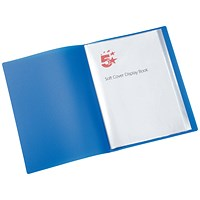 5 Star Soft Cover Display Book, 20 Pockets, A4, Blue