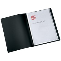 5 Star Soft Cover Display Book, 20 Pockets, A4, Black