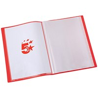 5 Star Soft Cover Display Book, 20 Pockets, A4, Red