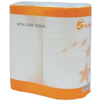 5 Star Toilet Tissue, White, 2-Ply, 320 Sheets per Roll, 9 Packs of 4 Rolls (36 Rolls)