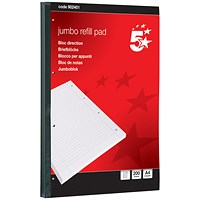 5 Star Jumbo Sidebound Refill Pad, A4, Feint Ruled, 4-Hole Punched, 200 Sheets, Pack of 4