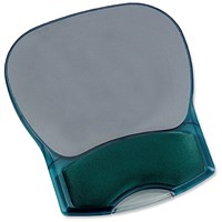 Mouse Mat Pad with Wrist Rest, Gel, Translucent Blue