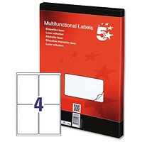 5 Star Multipurpose Laser Labels, 4 per Sheet, 139x99.1mm, White, 400 Labels