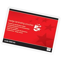 5 Star Laminating Pouches, 67x97mm, Medium, 250 Micron, Glossy, Pack of 100