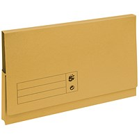 5 Star Document Wallets Full Flap, 285gsm, Foolscap, Yellow, Pack of 50