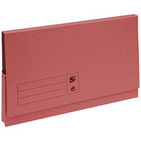 5 Star Document Wallets Full Flap, 285gsm, Foolscap, Red, Pack of 50