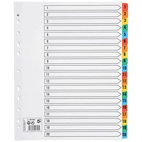 5 Star Maxi Index Dividers, Extra Wide, 1-20, Multicoloured Mylar Tabs, A4, White