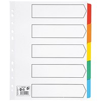 5 Star Maxi Index Dividers, Extra Wide, 5-Part, Multicoloured Mylar Tabs, A4, White