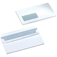 5 Star DL Envelopes, Window, White, Press Seal, 90gsm, Pack of 500