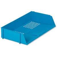 5 Star Wide Entry Stackable Letter Tray, High-impact Polystyrene, Blue