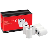 5 Star Thermal Printer Rolls, WxDxCore: 57x55x12.7mm, 1-Ply, White, Pack of 20