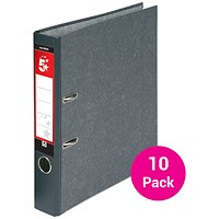 5 Star Foolscap Mini Lever Arch Files, 50mm Capacity, Cloudy Grey, Pack of 10