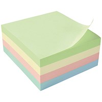 5 Star Sticky Notes Cube, 76x76mm, Pastel Rainbow, 400 Notes per Cube