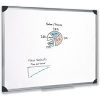 5 Star Magnetic Whiteboard, Aluminium Frame, W1200xH900mm