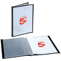 5 Star Rigid Cover Display Book, 20 Pockets, A4, Black