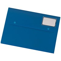 5 Star A4 Document Wallets, Card Holder, Blue, Pack of 3