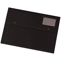5 Star A4 Document Wallets, Card Holder, Black, Pack of 3
