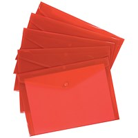 5 Star A4 Envelope Wallets, Red, Pack of 5