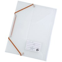 5 Star Elasticated Files, 3-Flap, A4, Clear, Pack of 5