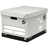 5 Star Storage Boxes, Self-Assembly, Standard, Grey, Pack of 10