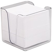 5 Star Transparent Noteholder Cube with Approx 750 White Sheets - 90x90mm
