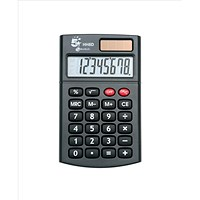 5 Star Handheld Calculator, 8 Digit Display, 3 Key, Solar & Battery Power, Black