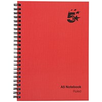 5 Star Wirebound Notebook, A5, Ruled, 160 Pages, Pack of 5