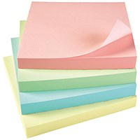 5 Star Sticky Notes, 76x76mm, Assorted Pastel, Pack of 12 x 100 Notes