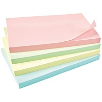 5 Star Sticky Notes, 76x127mm, Assorted Pastel, Pack of 12 x 100 Notes