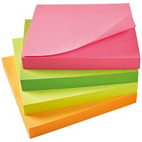 5 Star Sticky Notes, 76x76mm, Assorted Neon, Pack of 12 x 100 Notes