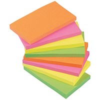 5 Star Sticky Notes, 76x127mm, Assorted Neon, Pack of 12 x 100 Notes