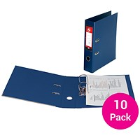 5 Star Foolscap Lever Arch Files, Plastic, Blue, Pack of 10