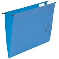 5 Star Premium Suspension Files / V Base / 15mm Capacity / Foolscap / Blue / Pack of 50