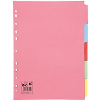 5 Star Subject Dividers, 5-Part, A4, Assorted, Pack of 50