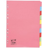 5 Star Subject Dividers, 10-Part, A4, Assorted, Pack of 25