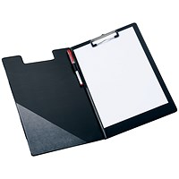 5 Star Fold-over Clipboard with Front Pocket, Foolscap, Black