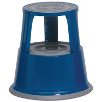 5 Star Mobile Step Stool, Metal, Blue
