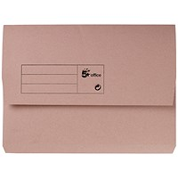 5 Star A4 Document Wallets Half Flap, 285gsm, Buff, Pack of 50