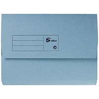 5 Star A4 Document Wallets Half Flap, 285gsm, Blue, Pack of 50
