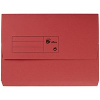 5 Star A4 Document Wallets Half Flap / 285gsm / Red / Pack of 50