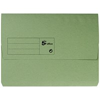 5 Star A4 Document Wallets Half Flap, 285gsm, Green, Pack of 50