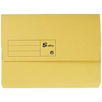 5 Star A4 Document Wallets Half Flap, 285gsm, Yellow, Pack of 50
