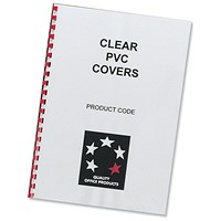 5 Star Comb PVC Binding Covers, 200 micron, A4, Clear, Pack of 100