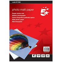 5 Star A4 Matt Inkjet Photo Paper, White, 165gsm, Pack of 100 Sheets