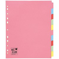 5 Star Subject Dividers, Extra Wide, 10-Part, A4, Assorted