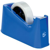 5 Star Desktop Tape Dispenser with Weighted Base, Non-slip, 25mm Width Capacity, Blue