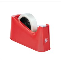 5 Star Desktop Tape Dispenser with Weighted Base, Non-slip, 25mm Width Capacity, Red