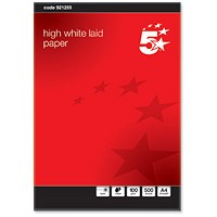 5 Star A4 Prestige Laid Finish Business Paper, High White, 100gsm, Ream (500 Sheets)